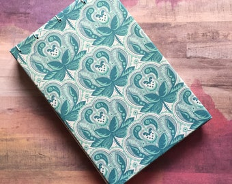 Teal Patterned Sketchbook/Journal, Blank Pages, No Lines, 4 x 6 inches, 50 Pages