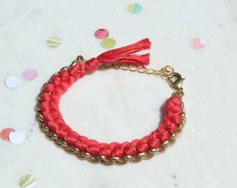Coral/Woven Chain Bracelet/Friendship Bracelet