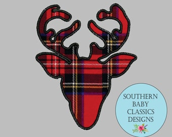 Deer Reindeer Silhouette Applique Design for Embroidery Machine Monogram Deer Elk