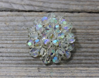 Vintage clear and opalescent rhinestone pin