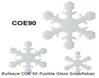 Set/3 Bullseye COE 90 SNOWFLAKE #1 Fusible Precut Glass Fusing Mosaic Supplies