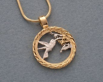 Hummingbird Pendant and Necklace, Trinidad one cent, ( # 596 )