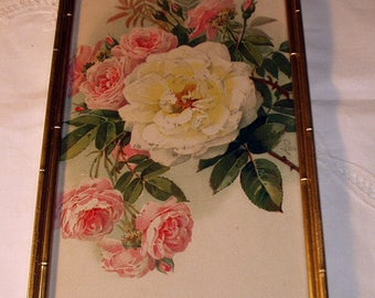 Paul de Longpre Original 1910 Pink and White Cabbage Roses Flowers Antique Gold Wood 1/2 Half Yard Long Frame Picture Decor Wall Hanging Art