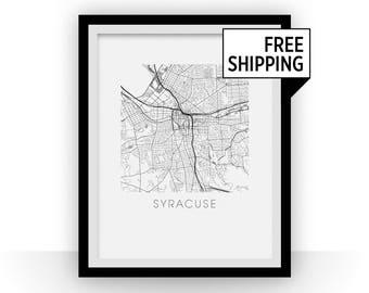 Syracuse Map Black and White Print - New York Black and White Map Print
