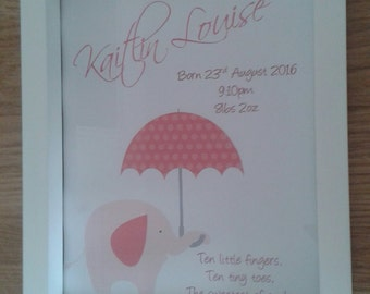 Personalised Gift New Baby Poem in Frame
