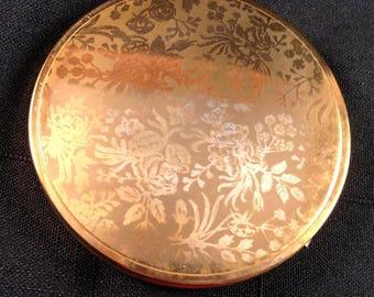 Avon Floral Design Round Brass Vintage Powder Compact, Circa 1940-1950, Made in Canada