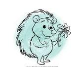 Hedgehog - Woodland Animals Digital Stamp Art/ KopyKake Image