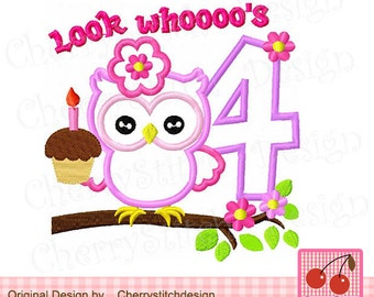Look Whoooo's 4, Birthday owl with number 4, Birthday Digital embroidery applique -approximate 4x4 5x5 6x6 inch-Machine Embroidery Applique