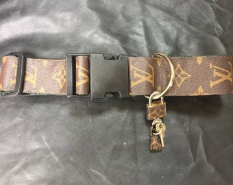 """Louis Vuitton dog collar adjustable Large 1.5""""  wide LV monogram  L repurposed recycled up-cycle"""