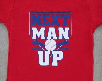SALE - Next Man Up (Anaheim Angels) - Funny Baby Boy Baseball Red Graphic T-shirt // Baseball T-shirt // Cool Baby Shirt