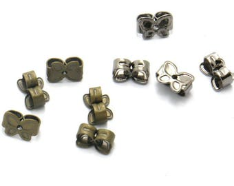 200 Earring Backs- Brass Antique Bronzed/ Gun black Plated Butterfly Shaped Friction Ear Nuts Wholesale