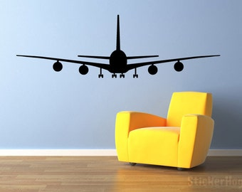 """Airliner Airplane Wall Decal Front View 22""""x7"""" Vinyl Wall Decal Graphics Bedroom Living Room Home Decor"""