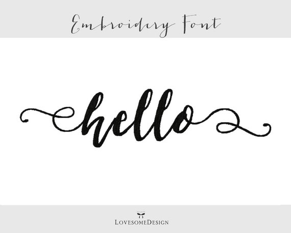 Hello font three sizes inch embroidery