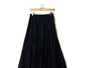 Vintage Plain Black Pure Silk Flare long Skirt from 80's/Minimal/Minimalist*