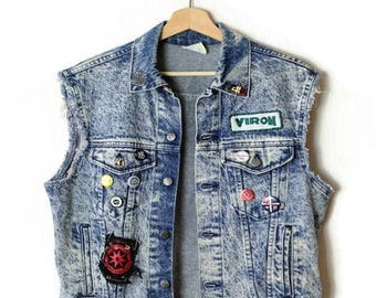 Damaged Vintage Acid wash Denim cut off Vest from 1980's*