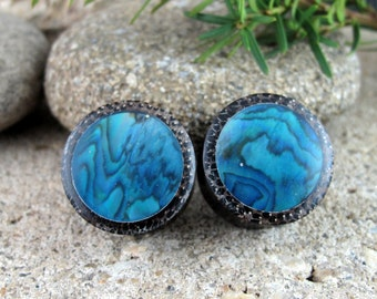 "One pair of 22mm - 7/8 "" ear Plugs, Wooden plug with paua inlay, Tribal gauge, Body jewelry  L4126"