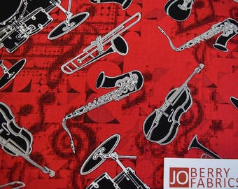Jazz Club from Thats Jazz Collection by Maria Kalinowski for Kanvas with Benartex Fabrics.  Quilt or Craft Fabric, Fabric by the Yard.