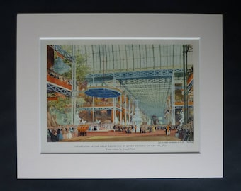 1940s Antique Joseph Nash Print, Opening of Great Exhibition by Queen Victoria Picture, Available Framed, Royal Art, Hyde Park London Decor