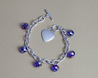 Shiny Blue Heart Charm Bracelet