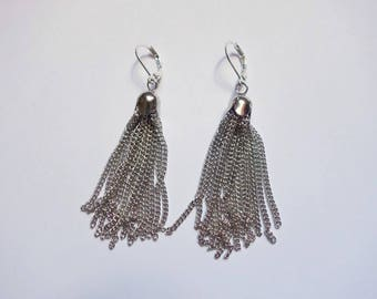 Long Chain Tassel Earrings, Silver Plated, Lever Back Earrings