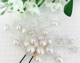 Freshwater pearl single flower hair pin, bridal accessories HA20154