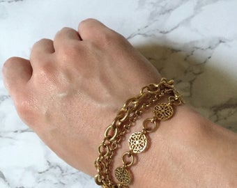 40% OFF SALE... triple chain bracelet | golden chain and ornament bracelet