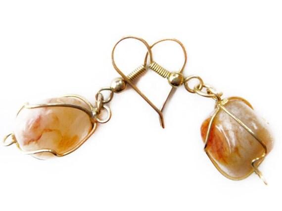 Raw Agate Earrins, Wire Wrapped Natural Stones, Wire Work Genuine Agate Earrings, Semi Precious Gemstone Vintage Handmade Agate Earrings