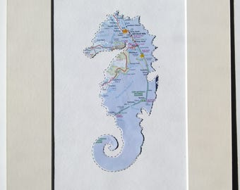 Beach House Decor - Beach Art - Outer Banks Art Decor - OBX Map - Seahorse Design