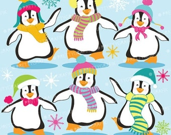 80% OFF SALE Penguins clipart commercial use, vector graphics, digital clip art, digital images  - Cl587
