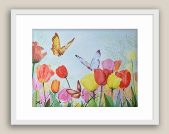 Print Watercolor painting by Tamara Shturba - Tulips & Butterflies Home Living Still Life