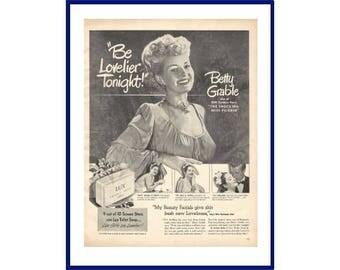 "LUX SOAP Original 1947 Vintage Extra Large Black & White Print Ad - Betty Grable ""The Shocking Miss Pilgrim"" 20th Century - Fox Movie / Film"