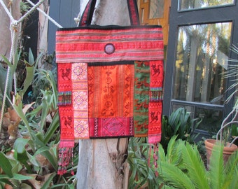 large Tote bag Purse patchwork cotton embrodiary beads Hill Tribe Thailand Boho Hippie