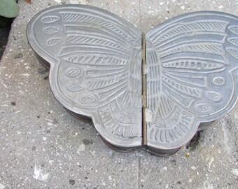 Vintage Peweter Hinged lid Butterfly Jewelry trinket box Desk storage