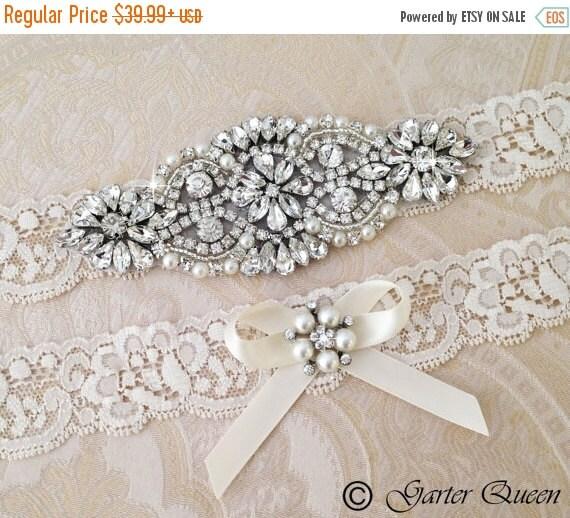 Personalized Wedding Garter Sets: SALE 15% OFF Ivory Wedding Garter Set Ivory Bridal By