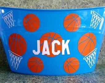 Basketball Easter bucket , Personalized Basket, Oval Tub