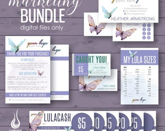 Marketing bundle, marketing kit, business cards, cash rewards, gift certificate, punch card, thank you, care card, moolah, size card