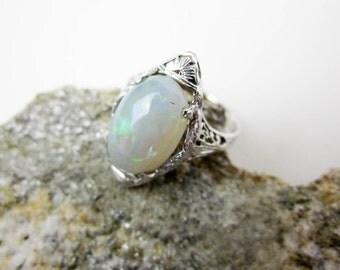 Filigree Opal Ring, 18K White Gold Ring, Art Deco 5ct Opal, Vintage Australian Opal, Precious Fire Opal, 1920s Opal Solitaire, USA.