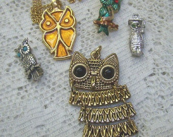 """Destash Sale...Vintage  OWL Jewelry...Sterling Owl Charm...Owl """"FRANKENMUTH"""" Pin...Articulated Owl Pendant...Owl Collectors"""