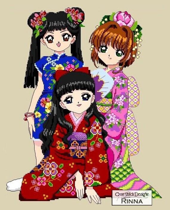 Kimono Beauties Anime Girls Cross Stitch PDF Pattern