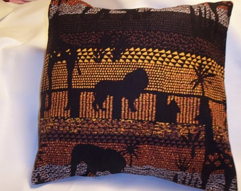 Decorative Pillow Cover, Throw pillow Cover Single 16 x 16 African Safari Elephant, Giraffe, Lion, Palm Trees