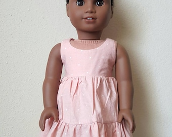 New Party Dress for 18 inch dolls by The Glam Doll - Pink with White dot