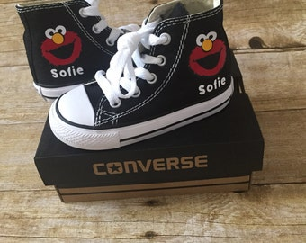 Elmo Shoes - personalized chuck taylors - customized converse - Sesame Street - Birthday swag
