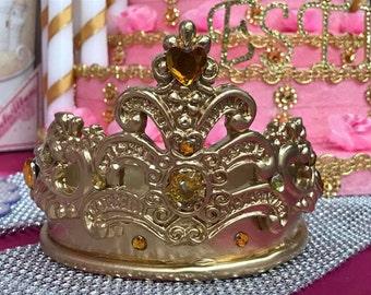 Gold Princess Crown Tiara Baby Shower Birthday Sweet 16 Cake Topper Centerpiece Decoration