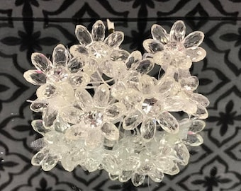 12 Bunches of Clear Acrylic Flowers Craft Favors Party Supplies