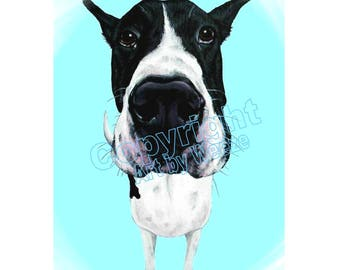 Great Dane, Black And White Great Dane, Harlequin Great Dane, Funny Great Dane, Great Dane Art, Dog Breed Print, Art by Weeze