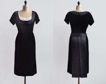 Tuxedo Dress / 1960s black velvet dress / vintage black silk bow dress