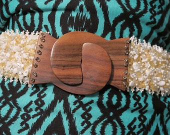 Tropical Belt with Sea, Glass Shells & beads with Real Coconut Clasp wrap around -  Fits 14/16 or XL  - Polynesian flair!