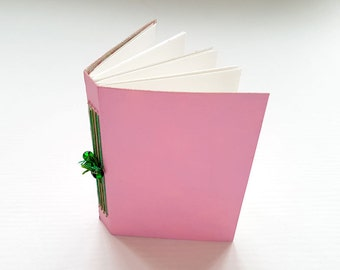 Mini journal, journal, hand bound book, binding, book, mono-print, pink, beads, green