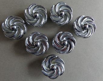 Vintage Silver Flower shape Cabinet Knobs Dresser Drawer Metal 267 Set of 7 with screws