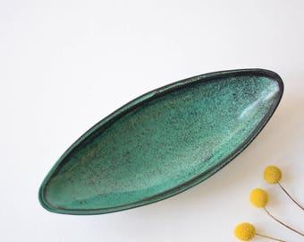 Kähler HAK Denmark - boat shaped bowl - Sven Hammershøi / Nils Kähler - Danish mid century pottery